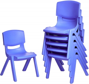 ihocon: Amazonbasics 10 Inch School Classroom Stack Resin Chair, Blue, 6-Pack 學童椅