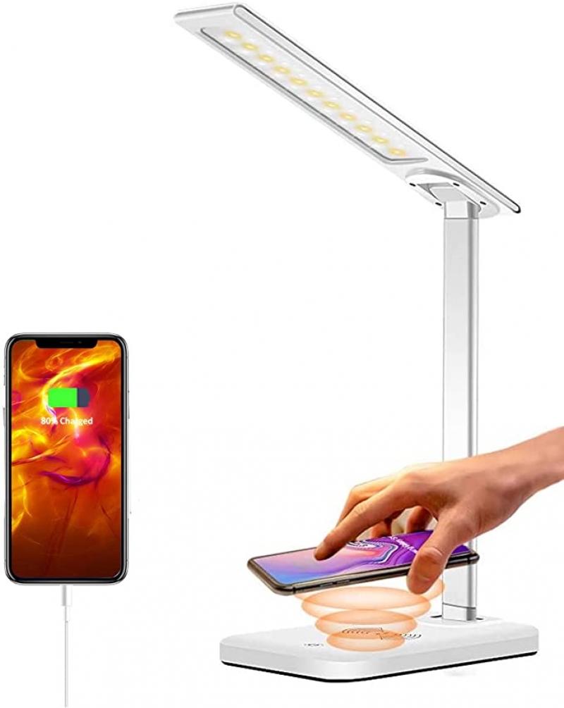 ihocon: GSBLUNIE LED Desk Lamp 光線微調護眼桌燈, 內建無線手機充電