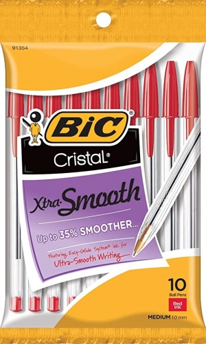 ihocon: BIC Cristal Xtra Smooth Ballpoint Pen 原子筆10枝, 紅色
