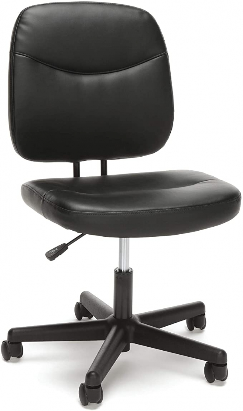 ihocon: OFM Essentials Collection Armless Leather Desk Chair, in Black   無扶手辦公椅/電腦椅