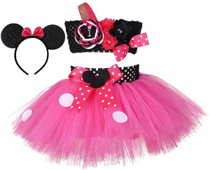 ihocon: Tutu Dreams Girls 3pcs Polka Dots Tutu with Headband Set 芭蕾舞短裙與米老鼠頭飾