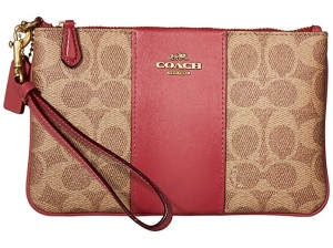 ihocon: COACH Women's Color Block Coated Canvas Signature Small Wristlet 手拿包