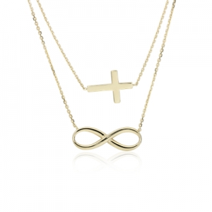 ihocon: Layered Infinity and Cross Necklace in 14k Yellow Gold K金項鍊