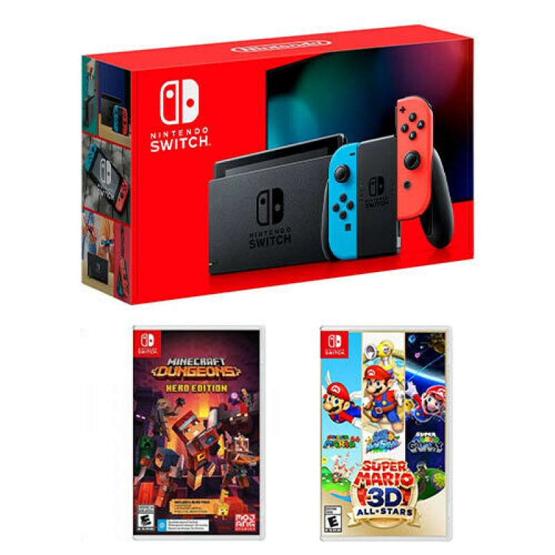 ihocon: Nintendo Switch 32GB Console + Minecraft Dungeons + Super Mario 3D All-Stars