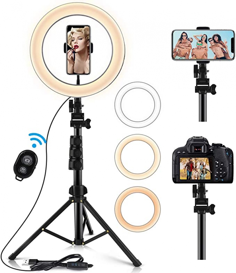 ihocon: KeShi 10.2 Selfie Ring Light with Extendable Stand & Flexible Phone Holder 自拍環形燈/自拍架