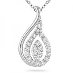 ihocon: 1/4 Carat TW Diamond Tear Drop Pendant in 10K White Gold