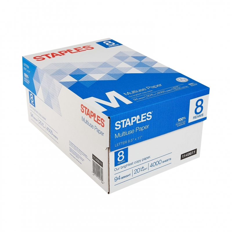 ihocon: Staples Multiuse Copy Paper, 8.5 x 11, 20 lbs., Bright White, 500 Sheets/Ream, 8 Reams/Carton