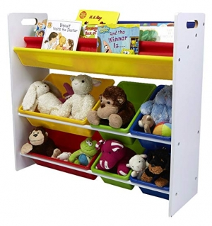 ihocon: Mind Reader Toy Storage Organizer with 6 Storage Bins and Bookshelf, Kids Storage for Bedroom 玩具收納架