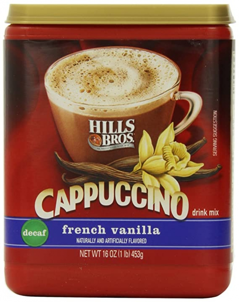 ihocon: Hills Bros. Instant Cappuccino Mix, Decaf French Vanilla Cappuccino (16 Ounces) 低咖啡因 速溶法式香草卡布奇諾咖啡