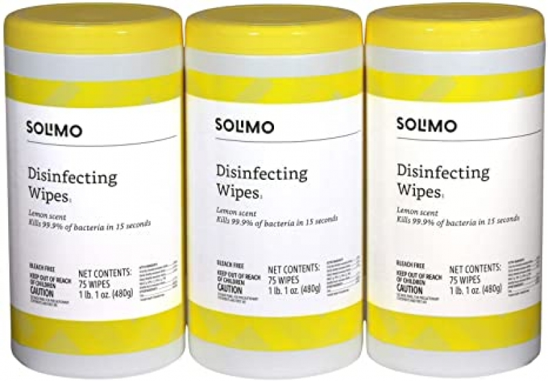 ihocon: [Amazon自家品牌] Solimo Disinfecting Wipes, Lemon Scent, 75 Count (Pack of 3)消毒濕巾