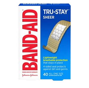 ihocon: Band-Aid Brand Tru-Stay Sheer Strips Adhesive Bandages for First Aid and Wound Care of Minor Cuts and Scrapes, All One Size, 40 ct 創可貼/OK繃