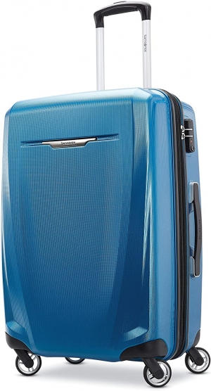 ihocon: Samsonite Winfield 3 DLX Hardside Expandable Luggage with Spinners, Blue/Navy   硬殼行李箱, 25吋