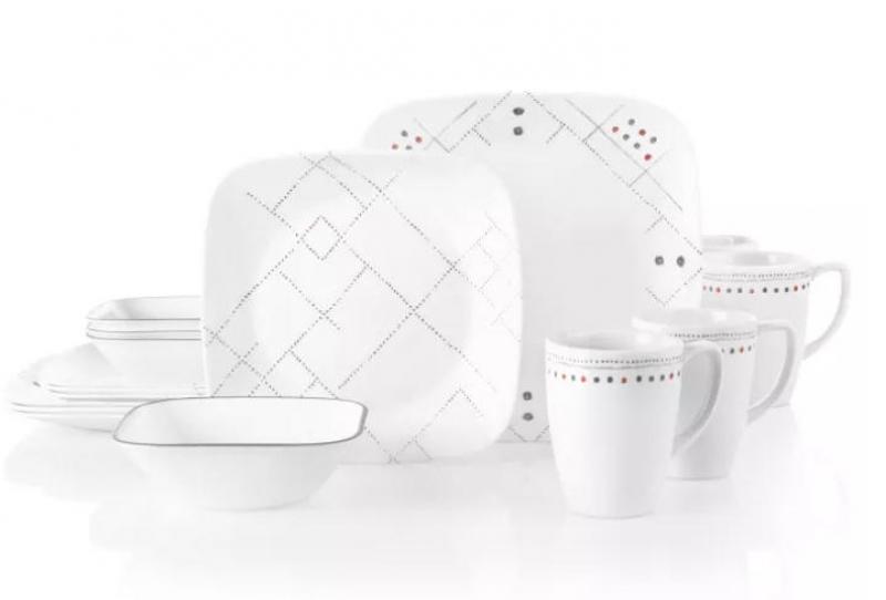ihocon: Corelle Studio 16pc Glass Square Raya Dinnerware Set  16-piece (四人份) 餐盤組