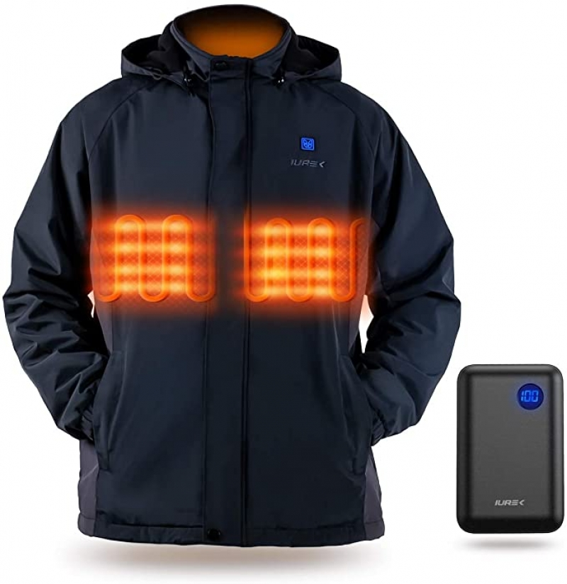 ihocon: IUREK Men's Heated Jacket with 7.4V 10000mAh Battery Pack 男士電熱夾克