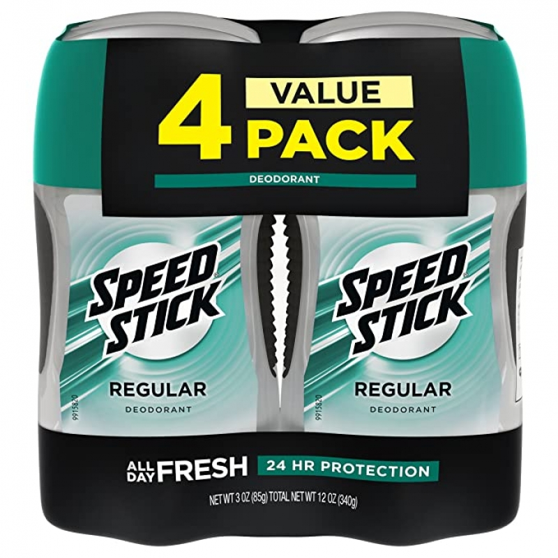 ihocon: Speed Stick Deodorant for Men, Aluminum Free, Regular - 3 Ounce (4 Pack) 止汗體香劑