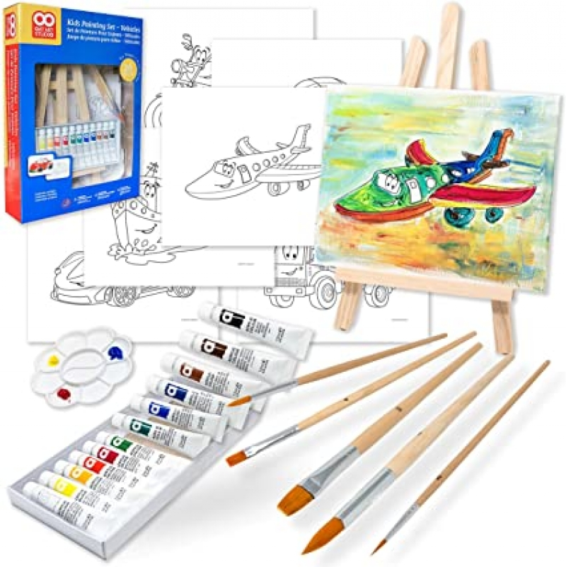 ihocon: OAT ART STUDIO 26 Piece Kids Art Painting Set with Wood Easel, 6 Vehicle Themed Canvases, 12 Color Acrylic Paints, 5 Paint Brushes, Palette兒童繪畫套裝