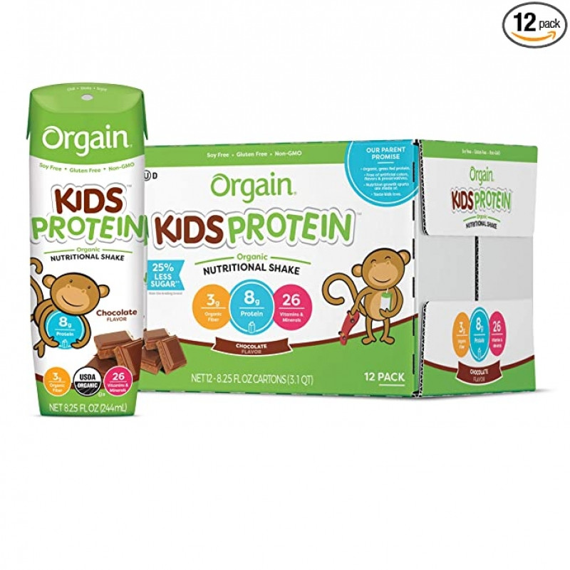 ihocon: Orgain Organic Kids Protein Nutritional Shake, Chocolate, 8.25 Ounce, 12 Count 巧克力口味 有機兒童蛋白質補充奶昔