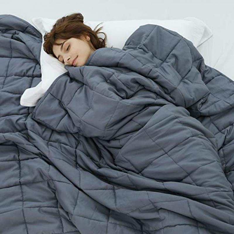 ihocon: Weighted Idea Cool Weighted Blanket Twin Size 15 lbs Adults (48''x78'', Grey) 加重毯(15磅)
