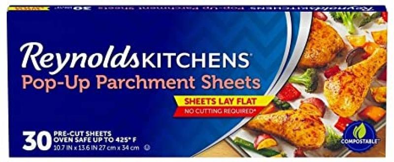 ihocon: Reynolds Kitchens Pop-Up Parchment Paper Sheets, 10.7x13.6 Inch, 30 Count 烘培烤盤紙