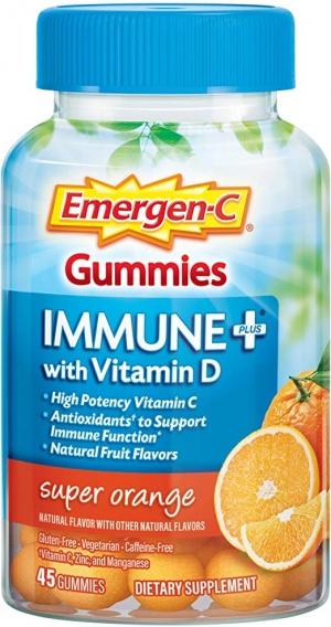 ihocon: Emergen-C Immune+ Gummies, Vitamin D plus 750 mg Vitamin C (45 Count, Super Orange Flavor) 免疫增強維他命軟糖