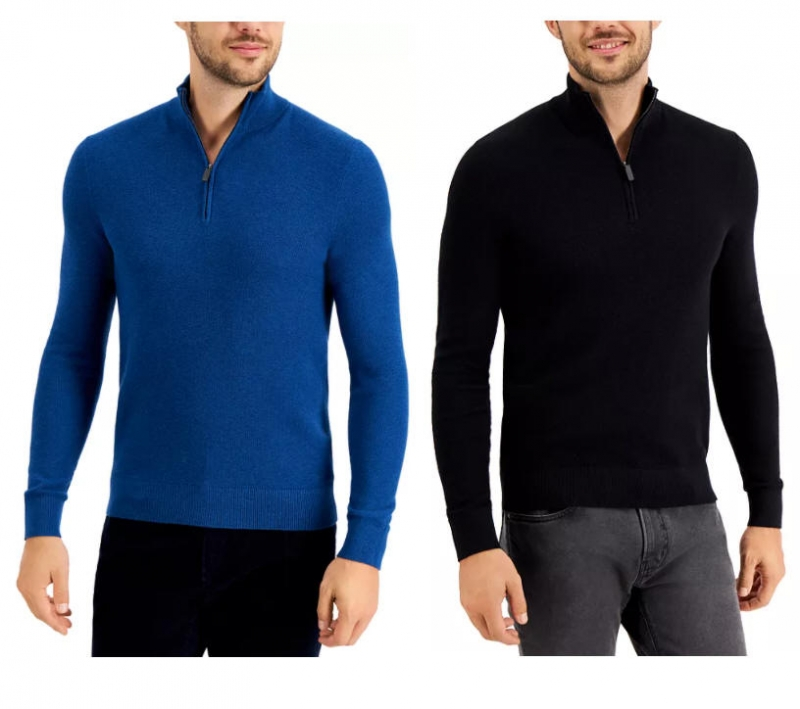 ihocon: Michael Kors Men's Regular-Fit Textured Stitch 1/4-Zip Sweater 男士毛衣-多色可選
