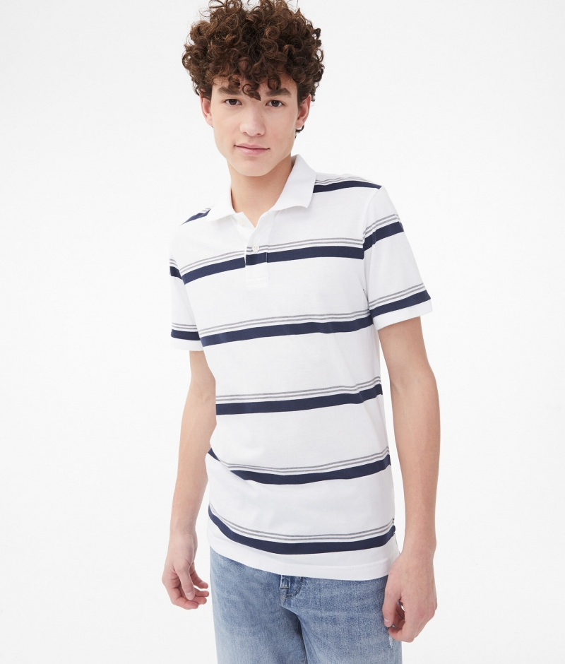 ihocon: Aeropostale Stripe Mix Jersey Polo 男士短袖衫