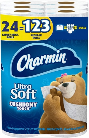 ihocon: [24捲等於123捲的份量] Charmin Ultra Soft Cushiony Touch Toilet Paper, 24 Family Mega Rolls = 123 Regular Rolls 廁所衛生紙