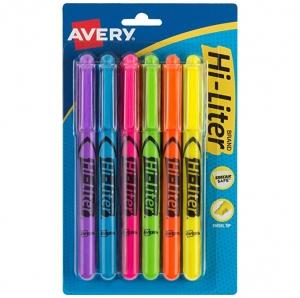 ihocon: Avery Hi-Liter Pen-Style Highlighters, Smear Safe Ink, Chisel Tip, 6 Assorted Color Highlighters (23565) 熒光筆