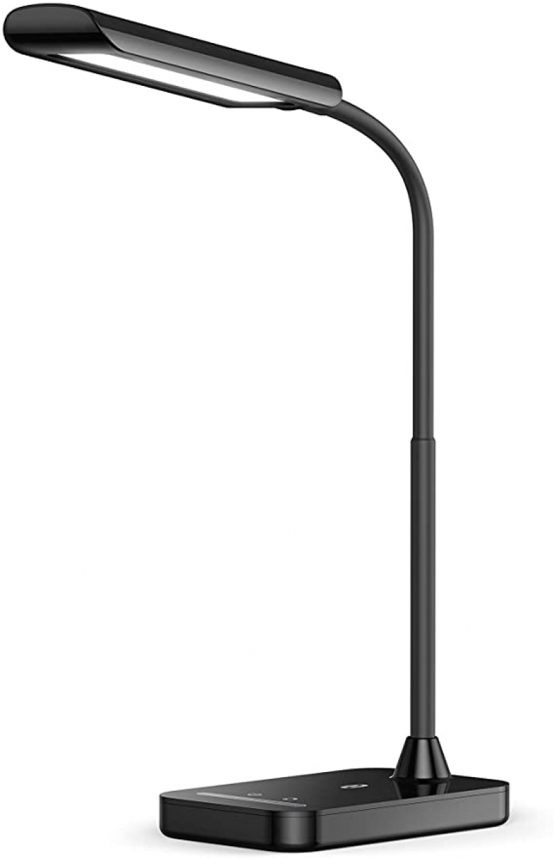ihocon: TaoTronics LED Desk Lamp, TT-DL11 Flexible Gooseneck Table Lamp,5 Color Temperatures with 7 Brightness Levels,USB Charging Port, Memory Function 7段光線微調護眼桌燈