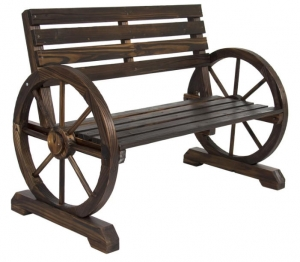 ihocon: Best Choice Product Wooden Wagon Wheel Bench 木製馬車車輪休閒椅