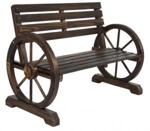 ihocon: Best Choice Product Wooden Wagon Wheel Bench 木製馬車車輪休閒椅