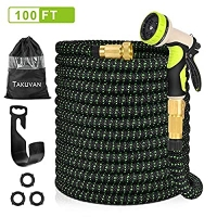 ihocon: Takuvan 100ft Expandable Garden Hose with 9 Function Spray Nozzle 伸縮澆花水管, 含噴水頭