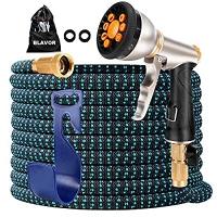 ihocon: BLAVOR Expandable Garden Hose 50ft with 10-Way Heavy Duty Zinc Water Spray Nozzle 伸縮澆花水管50呎,含噴水頭
