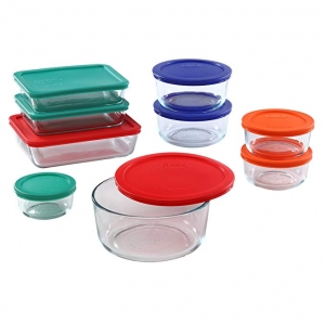 ihocon: Pyrex Simply Store Glass Rectangular and Round Food Container Set (18-Piece, BPA-free)   玻璃保鮮盒