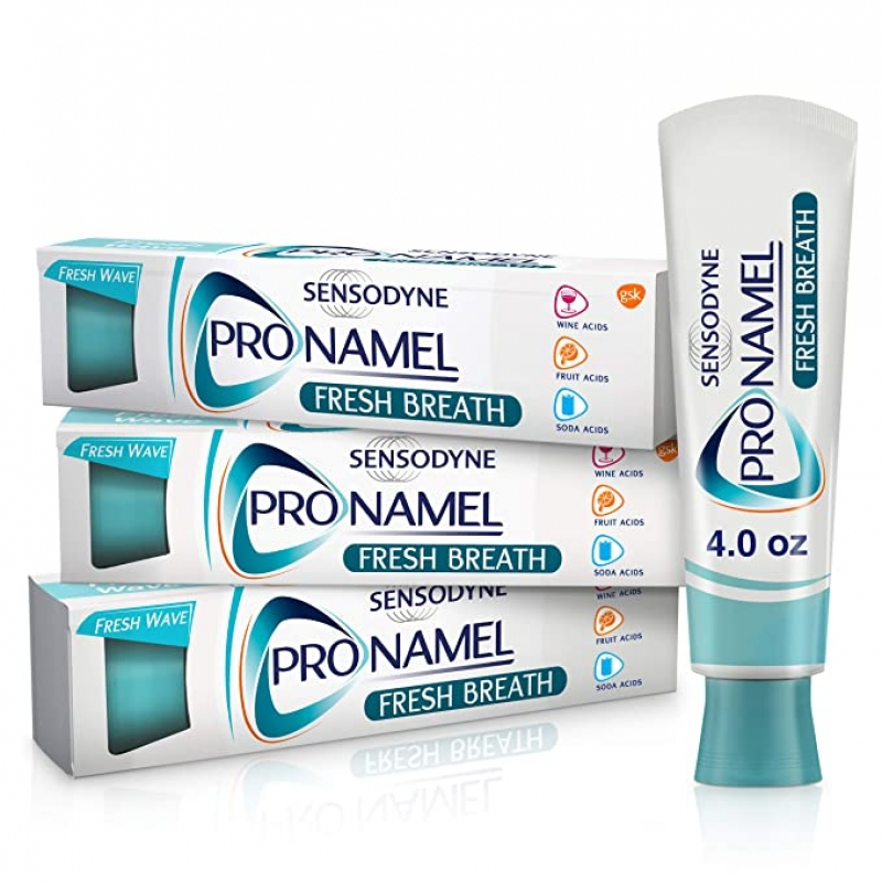 ihocon: Sensodyne Pronamel Fresh Breath Enamel Toothpaste for Sensitive Teeth, 4 Ounces (Pack of 3)  敏感齒硬化牙膏
