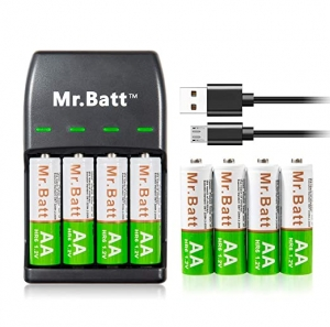 ihocon: Mr.Batt Rechargeable AA Batteries 1600mAh (8 Pack) and Rechargeable Battery Charger