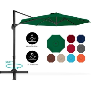 ihocon: BCP 360-Degree Rotating Cantilever Offset Patio Umbrella w/ Tilt, 10ft 360度旋轉遮陽大傘 - 多色可選