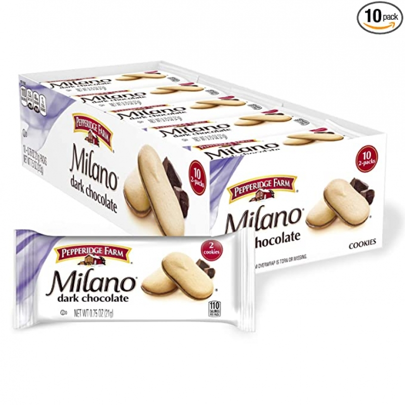 ihocon: Pepperidge Farm Milano Dark Chocolate Cookies, Multi-Pack Tray, 0.75 Oz (Pack of 10) 巧克力餅乾