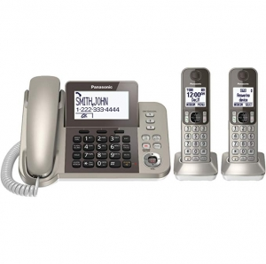 ihocon: PANASONIC Corded / Cordless Phone System with Answering Machine and One Touch Call Blocking – 2 Handsets - KX-TGF352N (Champagne Gold) 含答錄功能電話系, 1主機+2個無線分機