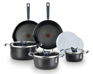ihocon: T-fal B210SA One Stackables Titanium Nonstick 10 Pieces Cookware Set, Multifunctional, Dishwasher Safe, Black 不粘鍋組