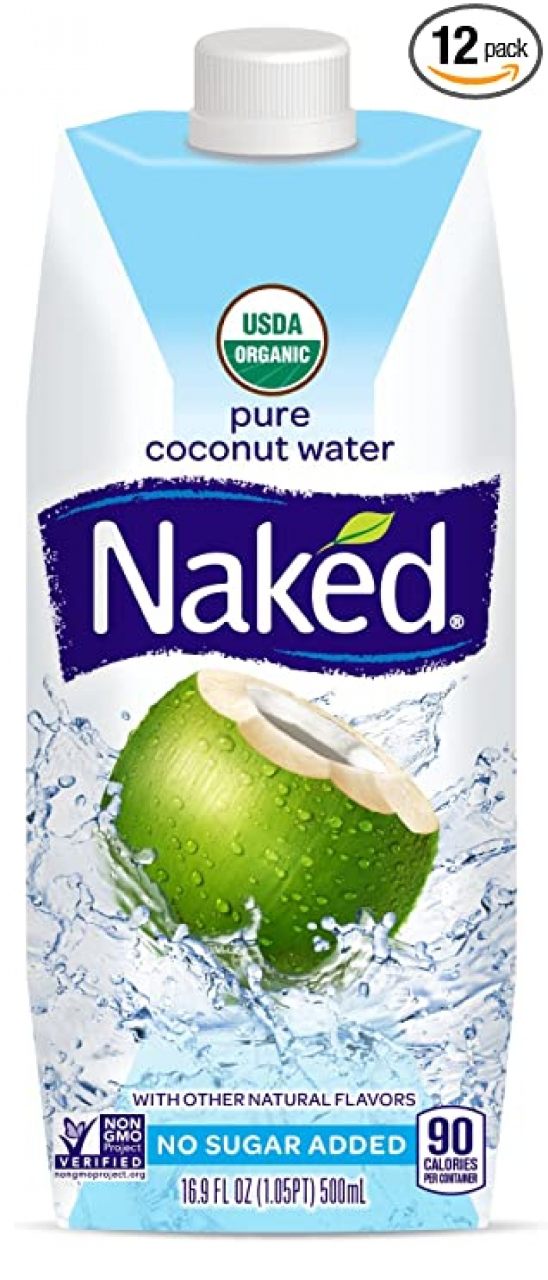 ihocon: Naked Juice 100% Organic Pure Coconut Water, USDA Organic Certified, NON GMO Project Verified, 16.9 Ounce, 12 Pack 有機純椰子水