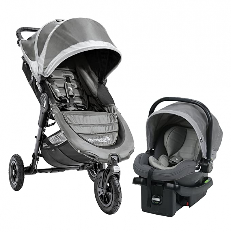 ihocon: Baby Jogger City Mini GT Travel System, Steel Gray 嬰兒慢跑推車及嬰兒汽車座椅