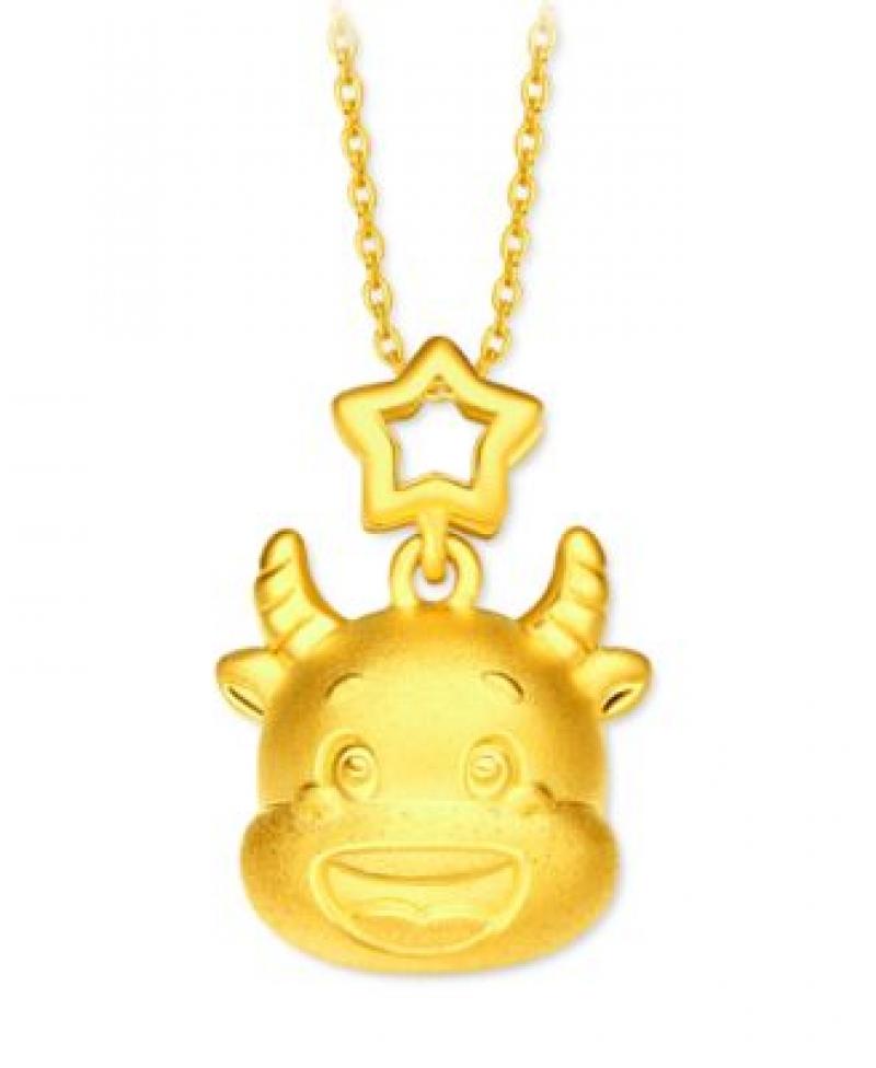 ihocon: 周大福Chow Tai Fook Year of the Ox Charm Pendant in 24k Gold 足金牛年項鍊吊墜