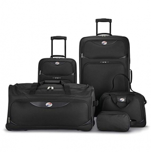 ihocon: American Tourister 5-Piece Softside, Black 行李箱組