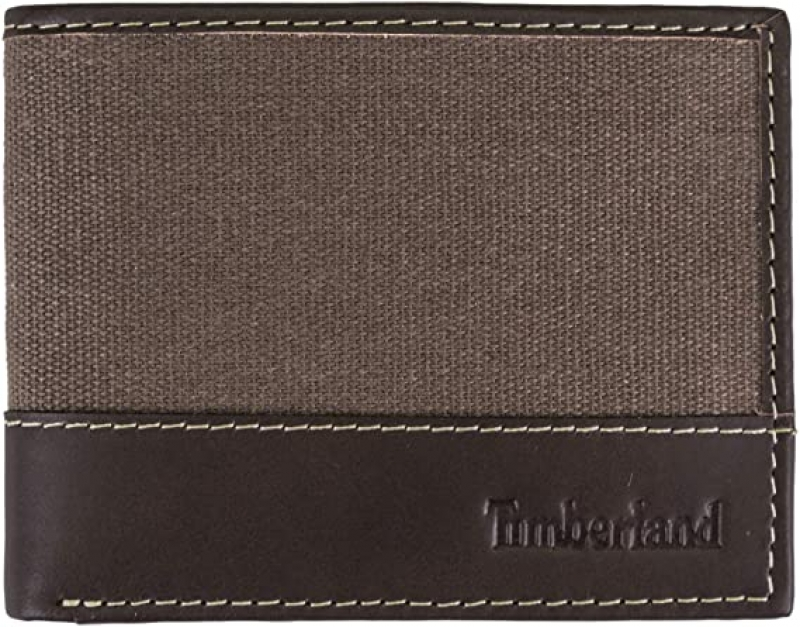 ihocon: Timberland Men's Baseline Leather Canvas Wallet with Attached Flip Pocket 男士錢夾