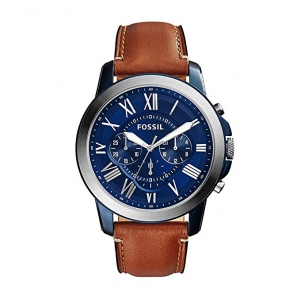 ihocon: Fossil Men's Grant Quartz Stainless Steel and Leather Chronograph Watch (Brown)男錶