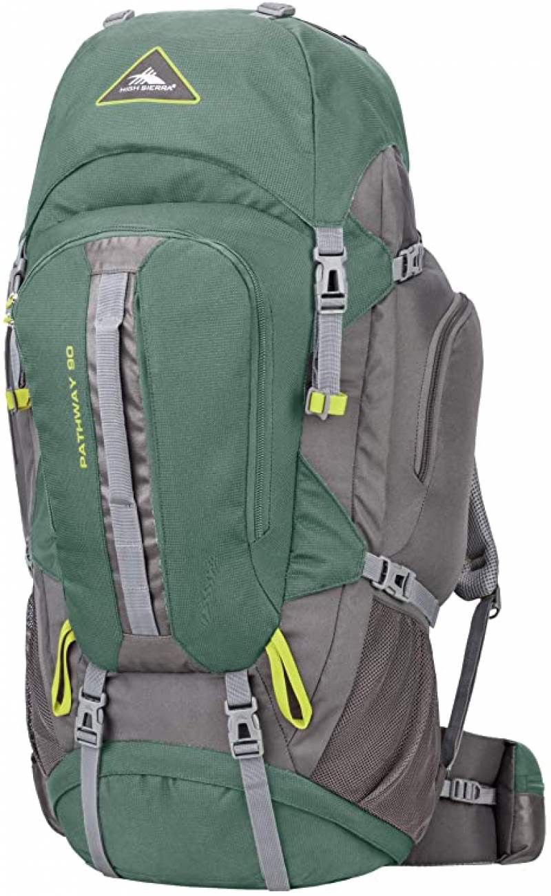 ihocon: High Sierra Pathway Internal Frame Hiking Backpack, Pine/Slate/Chartreuse, 90L   內架徒支撐登山背包