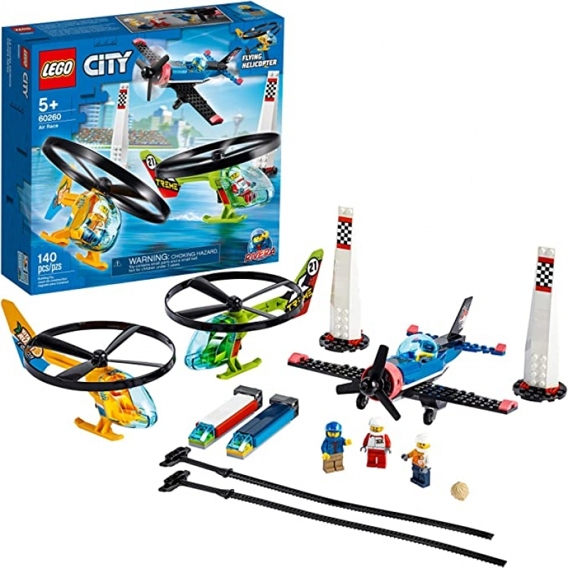 ihocon: LEGO City Air Race 60260 Flying Helicopter & Airplane Toy(140 Pieces)