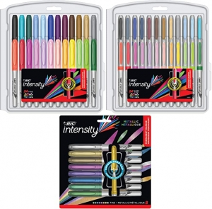 ihocon: BIC Intensity Permanent Marker Coloring Bundle, Assorted Fine/Ultra Fine Tips, Assorted Fashion and Metallic Colors, 56-Count 麥克筆
