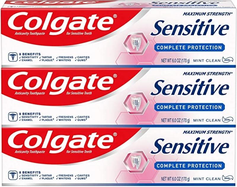 ihocon: Colgate Sensitive Toothpaste, Complete Protection, Mint - 6 ounce (Pack of 3) 高露潔敏感齒牙膏